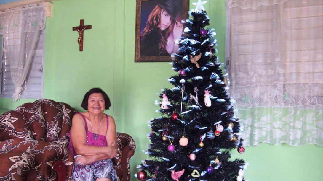 Enedina González junto a su arbolito de Navidad