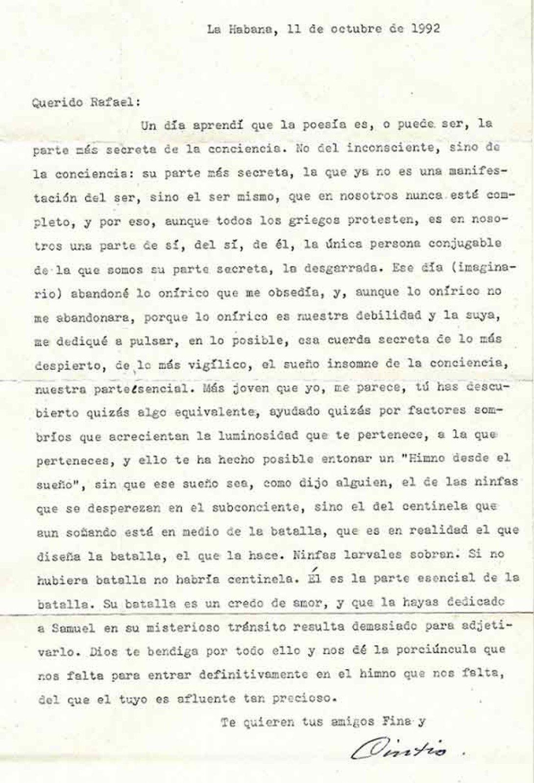 Mecanuscrito, carta de Fina y Cintio, en los archivos de Rafael Almanza