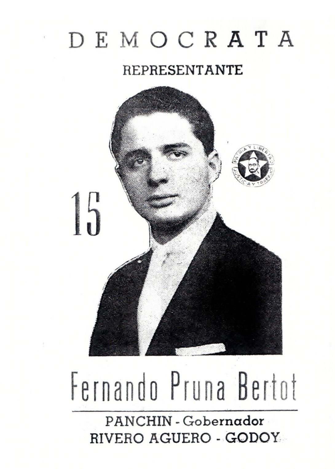 Fernando Pruna, candidato a las elecciones legislativas de 1958, por el Partido Demócrata.