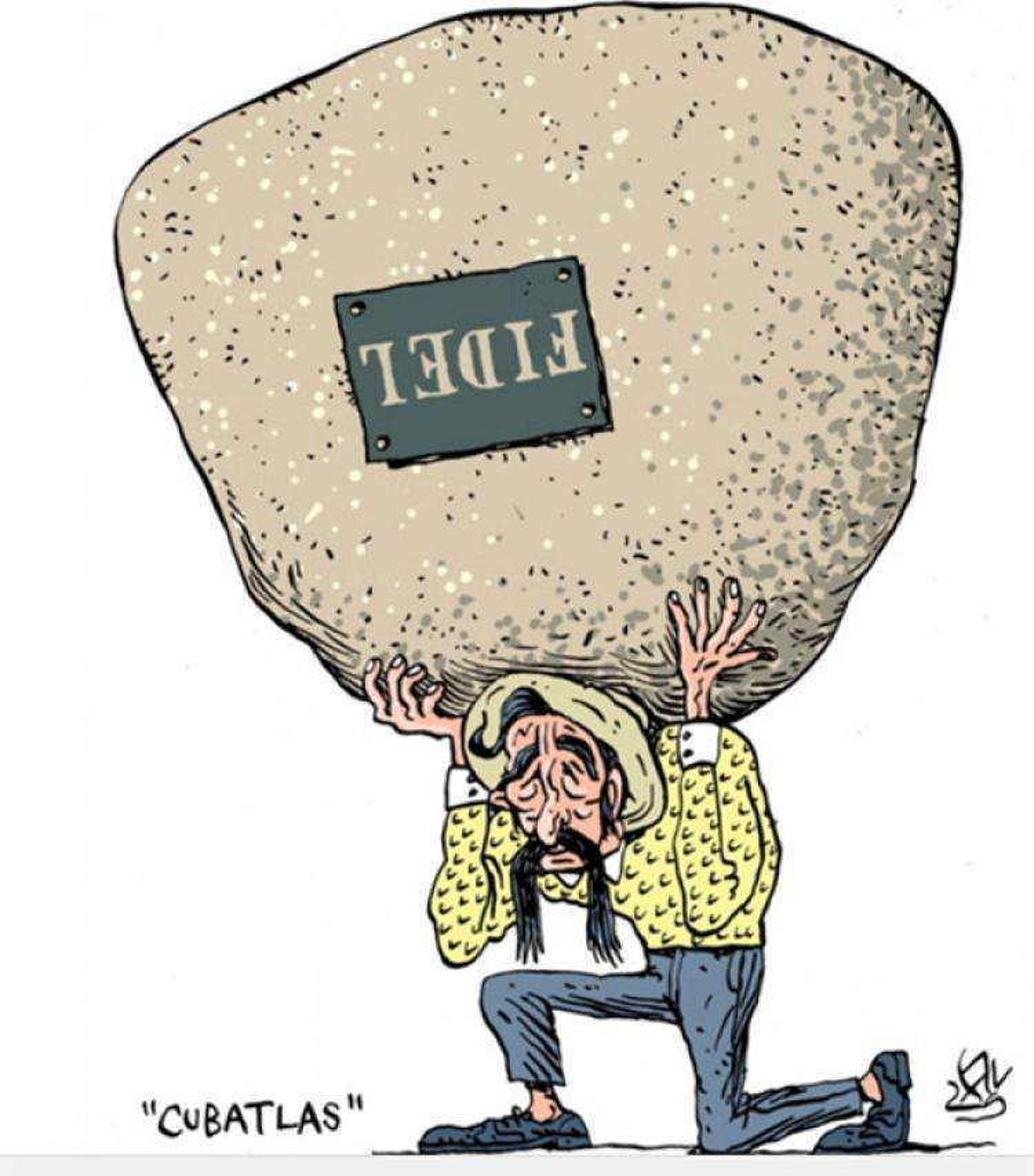 """""""Cubatlas"""". Caricatura de Alen lauzán."""