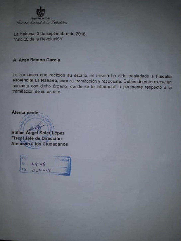 Respuesta recibida el 5 de octubre de manos de la fiscalia