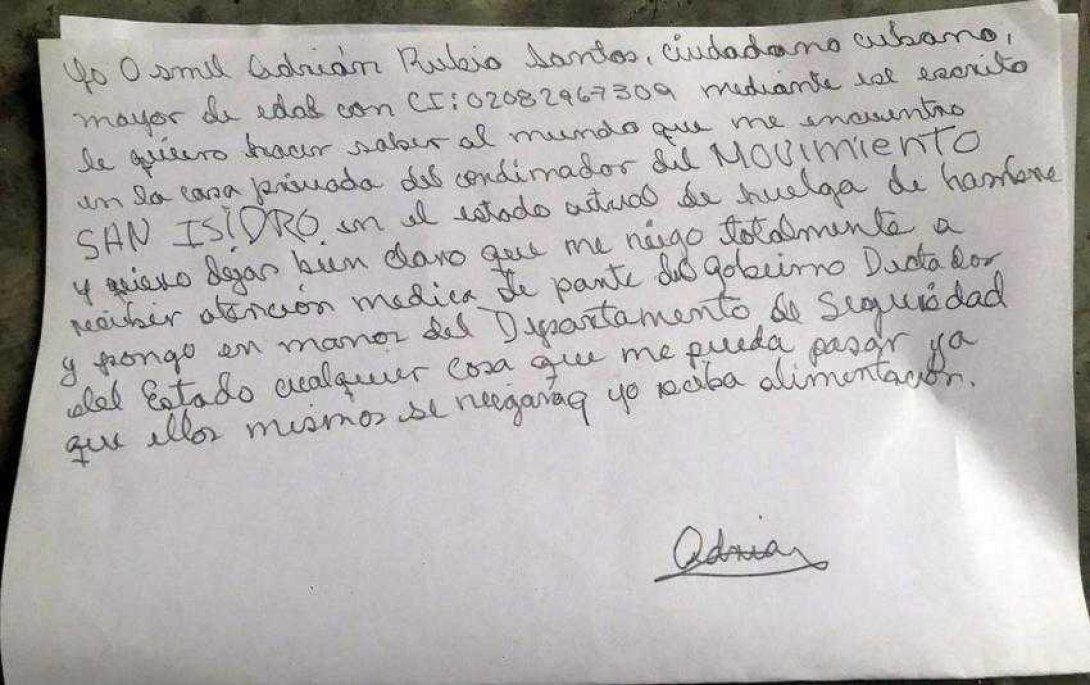 Carta de Osmel Adrián Rubio Santos, en huelga de hambre