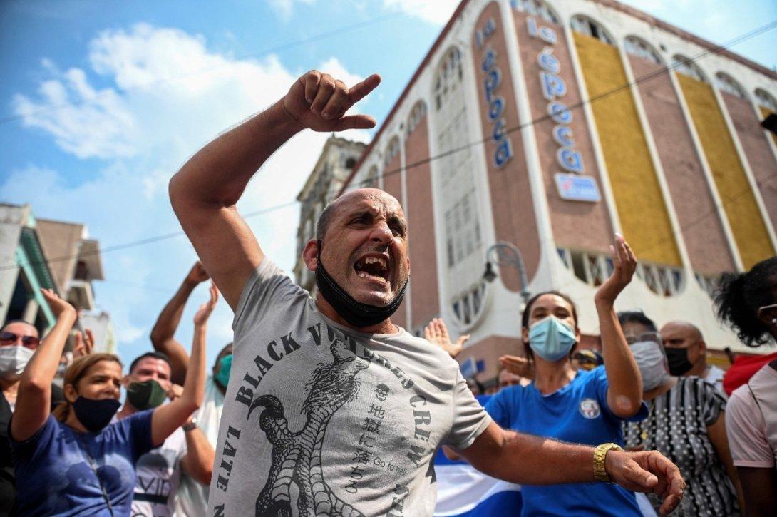 Protestas en Cuba. 11 de julio 2021. Hombre grita