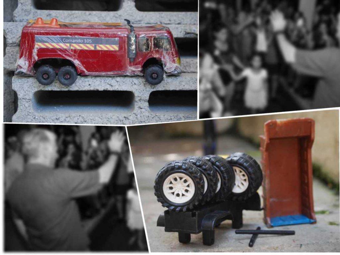 Juguetes artesanales cubanos. Carro de bomberos.