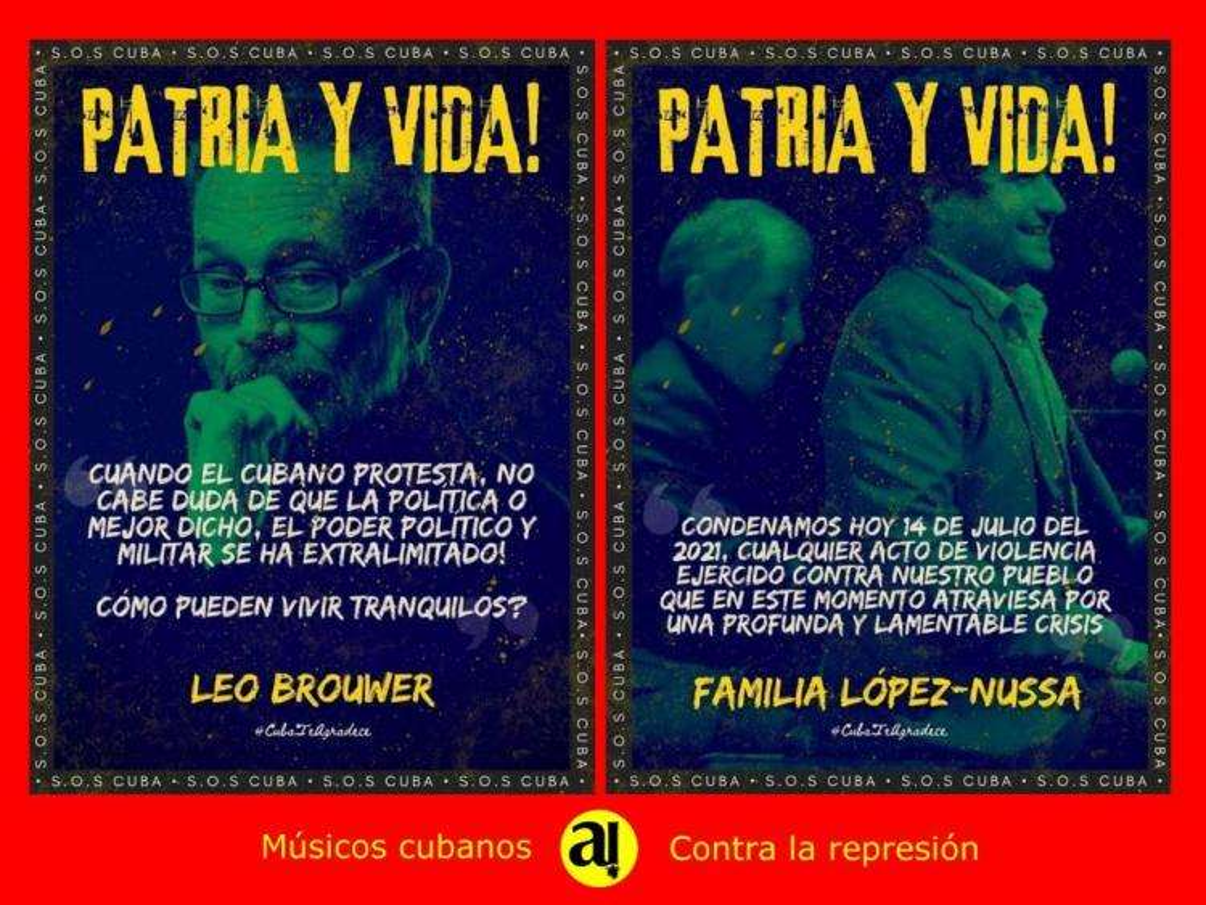 Postal de músicos cubanos que se oponen a la represión. leo Brower, familia López Nussa.iet Cruz.
