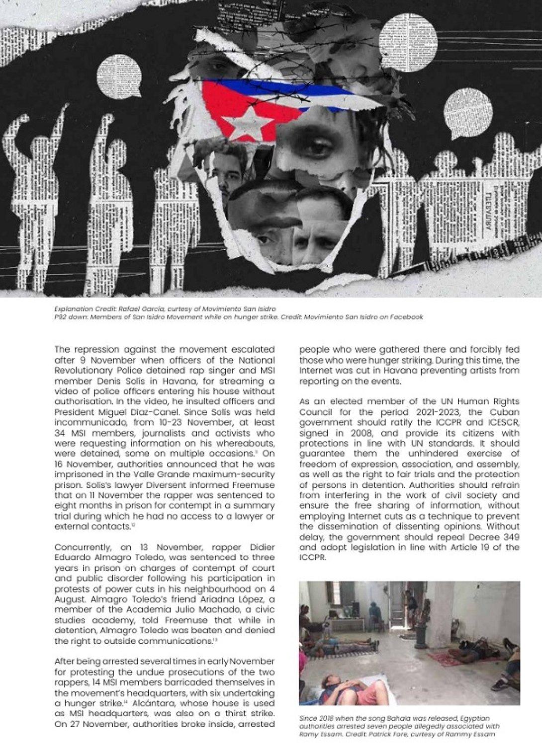 Informe sobre los acuartelados de San Isidro