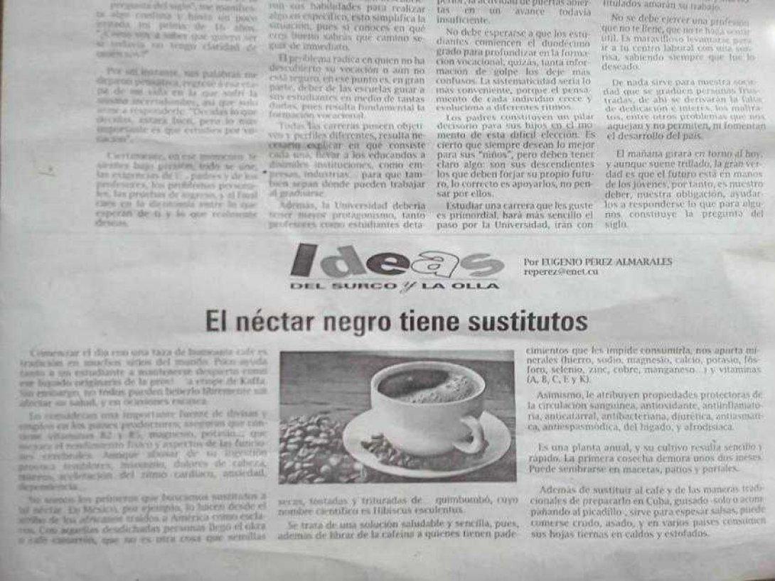 Periódico Demajagua, quimbombó por café