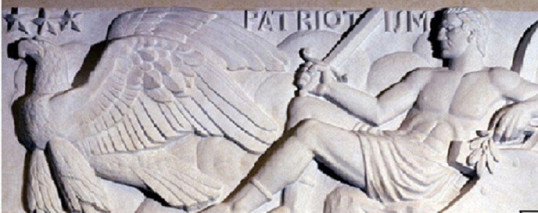 Relieve en mármol en la puerta este de la Cámara del Senado del Capitolio.