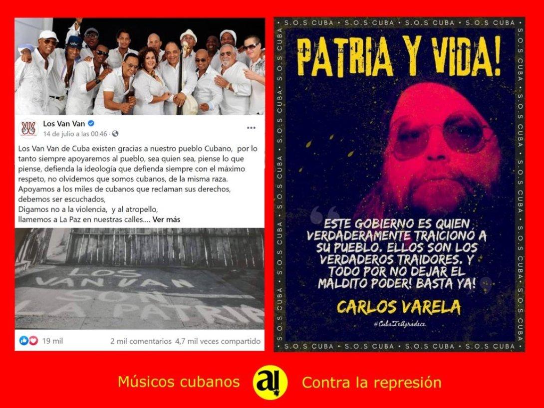 Postal de músicos cubanos que se oponen a la represión. Los Van Van, Carlos Varela.t