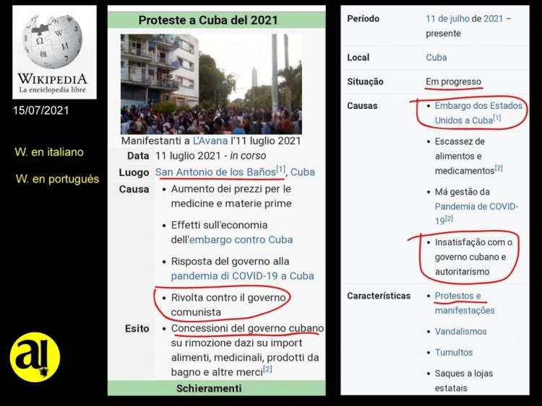 Reflejo de las protestas en Cuba en Wikipedia, versión de W. en italiano y en portugués (14-07-2021).