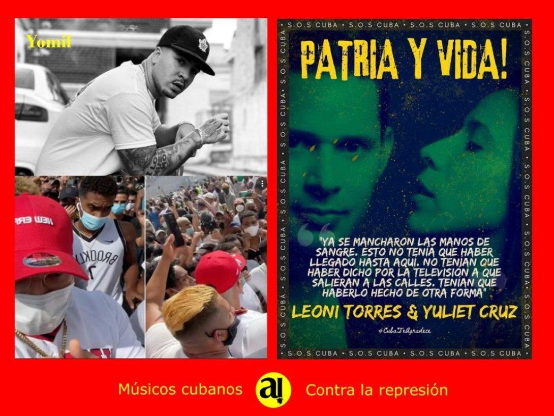 Postal de músicos cubanos que se oponen a la represión. Yomil, leonis Torres y Yuliet Cruz.