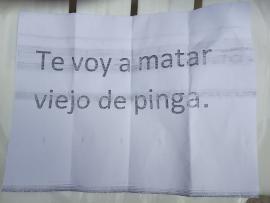 Mensaje de amenaza recibido por Rafael Almanza.