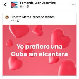 Post del pintor Ernesto Rancaño, compartido por el viceministro León Jacomino.