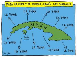 Mapa de Cuba rodeada de Yuma por todas partes.